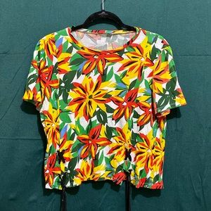 ZARA bright floral t-shirt lace up sides